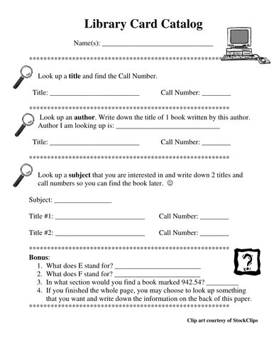 Using Library Card Catalog *2 Editable Reproducibles By Windupteacher  Teaching Resources Tes