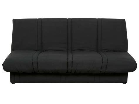 housse canapé bz conforama banquette clic clac en tissu coloris noir vente