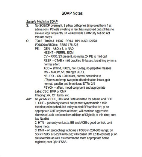 soap note template   word  format