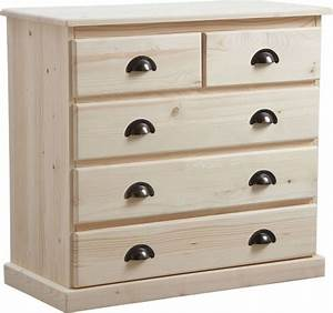 Commode À Peindre : commode 5 tiroirs en bois brut ~ Carolinahurricanesstore.com Idées de Décoration