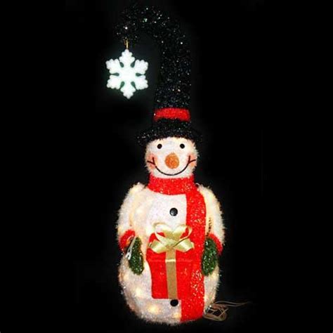 christmas lawn decorations  lighted snowman  santa hat