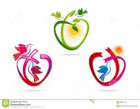 chant d entrã e mariage logo vert de coeur ruban de forme d 39 amour avec le symbole de colombe icône sacrée de chant