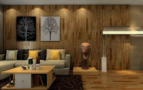 Interior Design Wood Wall And Wood Floor Living Room