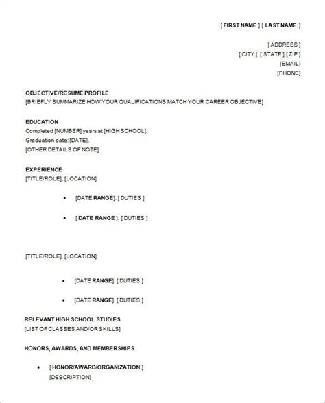 18651 exles of resumes for high school students exle of a resume for a highschool student best resume