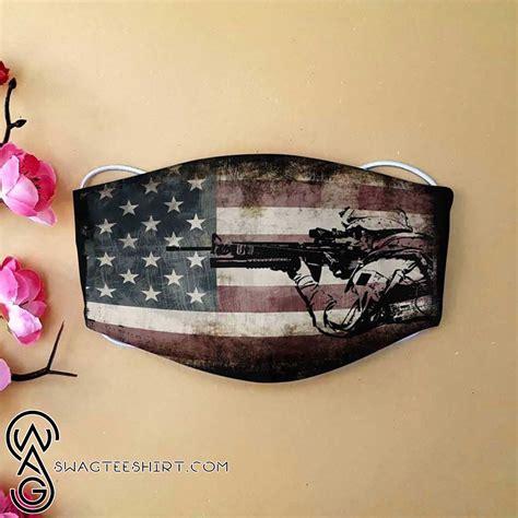 american flag army veteran   printed face mask
