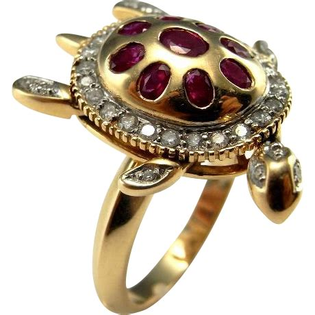 sea turtle jewelry turtle ring ruby ring kinetic jewelry