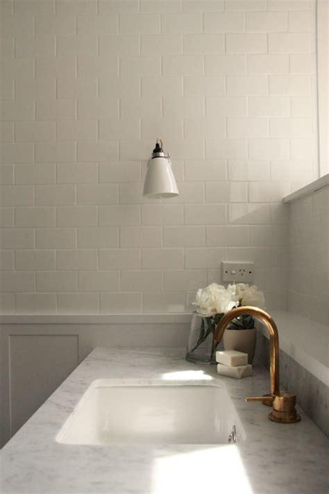 Modern Bathroom with Carrera Marble Herringbone Floor