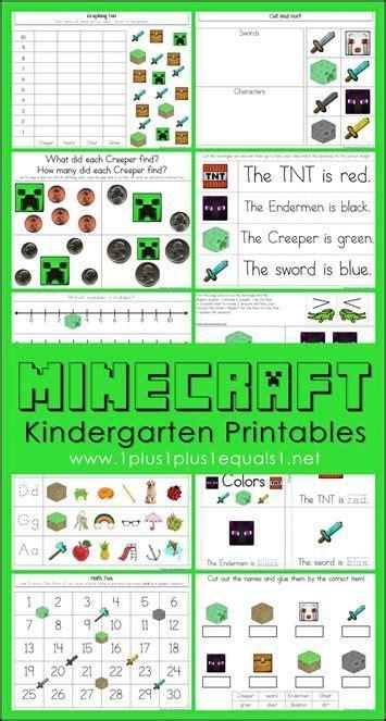 minecraft kindergarten printables  educational