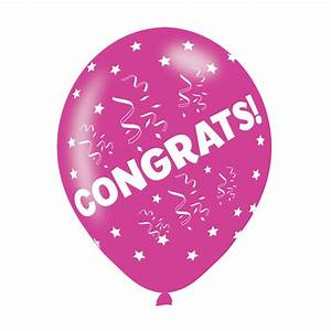 "Congrats Assorted Colours Latex Balloons 11""/27 5cm"
