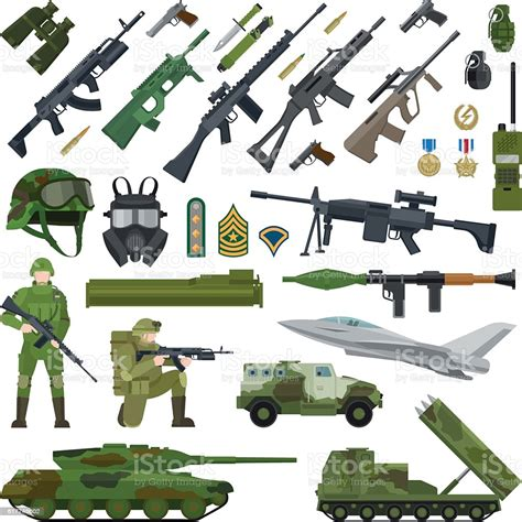 Free vector graphics guns svg file. Military Army Flat Icons Stock Vector Art & More Images of ...