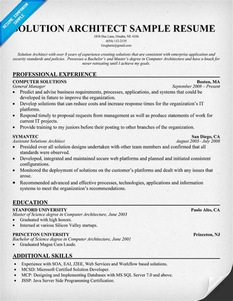 Technical Architect Resume by Solution Architect Resume Resumecompanion Amg