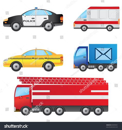 Set Of Different Types Of Cars Including Police Car