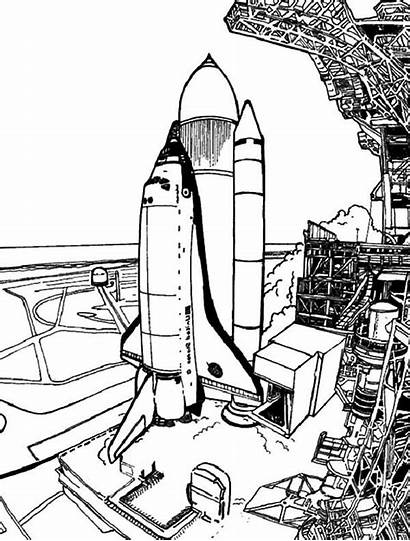 Coloring Space Spaceship Pages Launch Travel Drawing