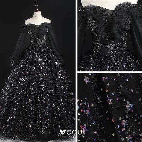 Victorian Style Black Prom Dresses 2020 Ball Gown Off-The ...