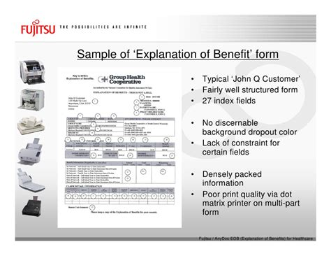 The explanation of benefits is provided by your insurance company to detail what it has paid to providers and what if your responsibility to pay. Fujitsu Scanners & AnyDoc® EOB (Explanation Of Benefits ...
