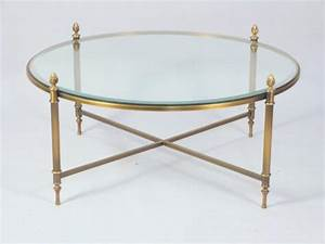 Brass and glass round coffee table lot 142 for Round brass and glass coffee table