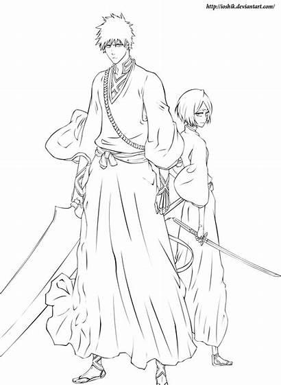 Bleach Ausmalbilder Coloring Manga Ichigo Rukia Deviantart