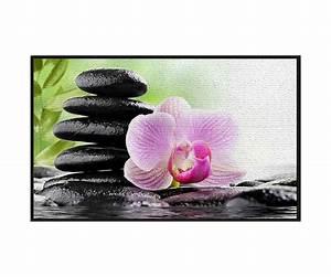 tapis deco zen salle de bain cuisine colonne galets noir With tapis en bambou pas cher