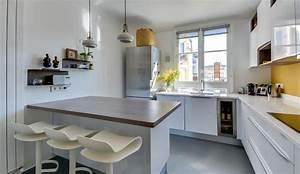 cuisine moderne avec ilot en epi modele harmonie With modele de cuisine moderne avec ilot