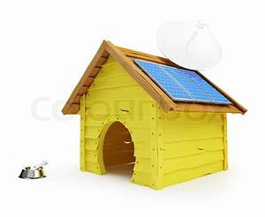 dog house with solar panels and antenna stock photo With solar dog house