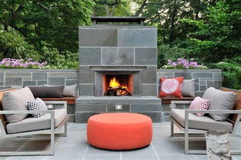 Outdoor Fireplace And Patio Midcentury With Tile Surround Bean Bag Chair Cost Lime Dining Chairs All Purpose Studded Accent Parson Office Max Skyline Mustard Color