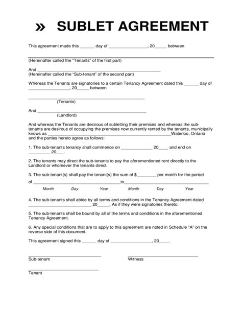 sublease template sublet contract form waterloo free