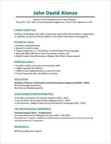 comprehensive resume sle for fresh graduates resume templates you can jobstreet philippines