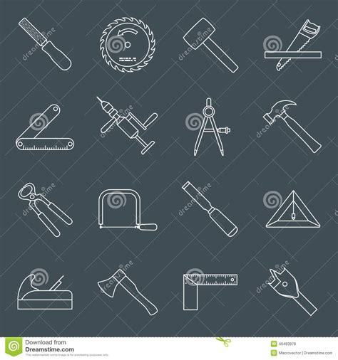 carpentry tools icons outline stock vector image