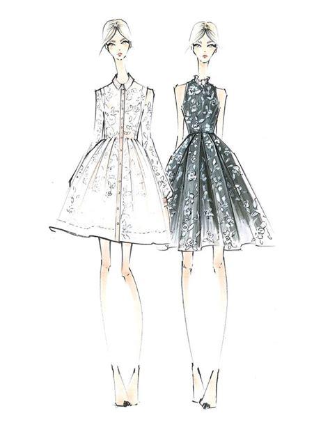 Drawn sketch fashion - Pencil and in color drawn sketch ...
