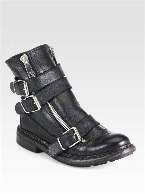 leather motorcycle shoes burberry hertford leather motorcycle boots in black lyst
