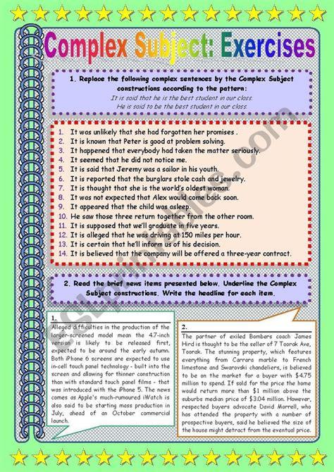complex subject part  exercises complex sentences