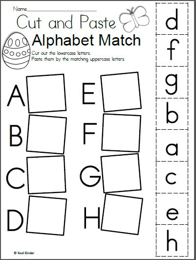 free easter alphabet cut and paste worksheets madebyteachers