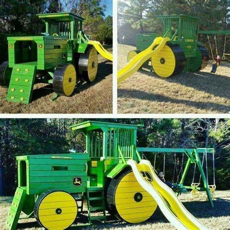 Spielplatz Traktor  Garten Kids, Spielideen Und Ecken