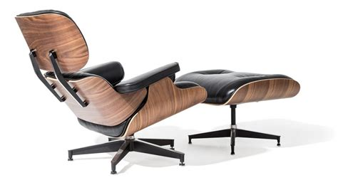 eames style lounge chair and ottoman black leather walnut