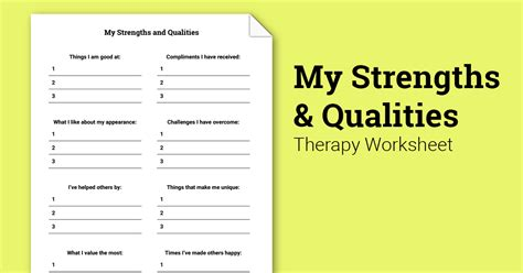 strengths  qualities worksheet therapist aid