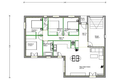 plan maison 4 chambres gratuit plan de maison moderne plain pied 4 chambre studio