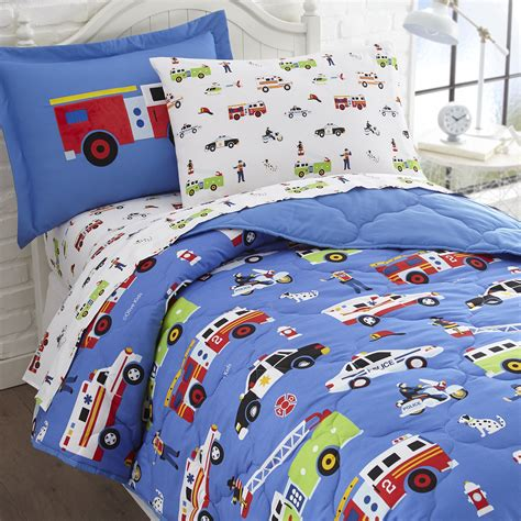 themed beds olive kids heroes police fire full size 7 piece bed in a bag set