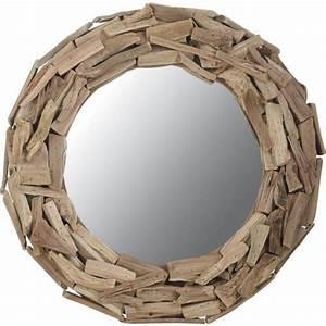 miroir rond en bois flotte achat vente miroir bois With miroir salle de bain rond bois