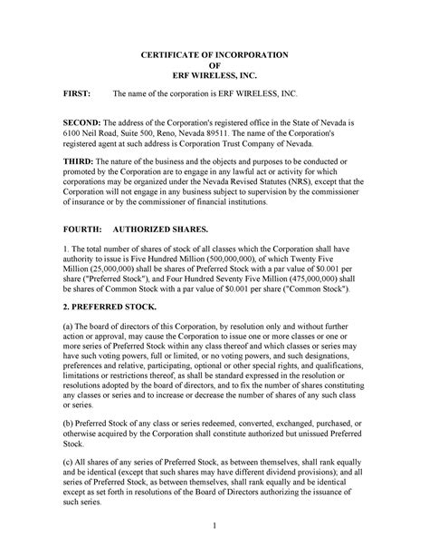 Articles of Incorporation - 47 Templates for Any State ᐅ ...