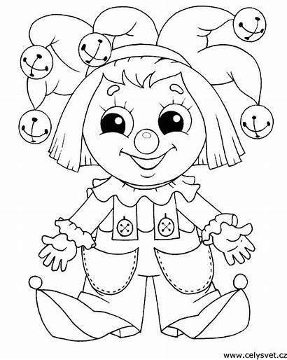 Coloring Pages Barbie Clown Dolls Clowns Panenky