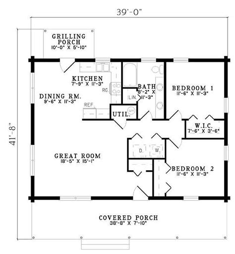 2 Bedroom 1 Bath Floor Plans by Plan 110 00919 2 Bedroom 1 Bath Log Home Plan