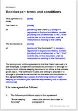bookkeeper terms conditions template contract