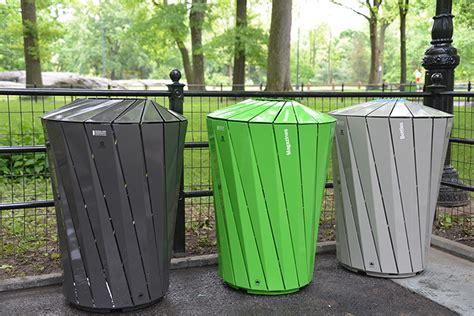 custom made designer trash bins pop up in nyc parks