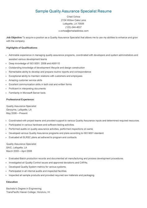 Quality Specialist Resume by Sle Quality Assurance Specialist Resume Resame Resume