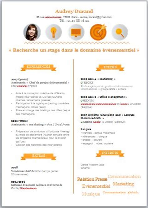 Réaliser Un Cv by Faire Un Cv Original Sur Word Andallthingsdelicious