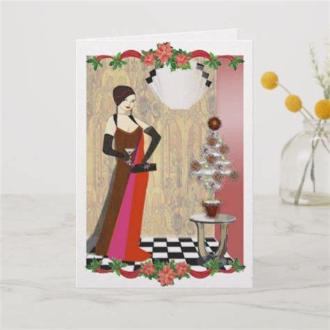 art deco lady  cocktail party christmas card
