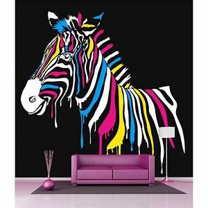 Papier Peint Sticker : papier peint g ant d co z bre color 250x250cm stickers ~ Premium-room.com Idées de Décoration