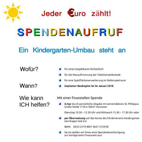 spendenaufruf foerderverein kindergarten isernhagen sued ev