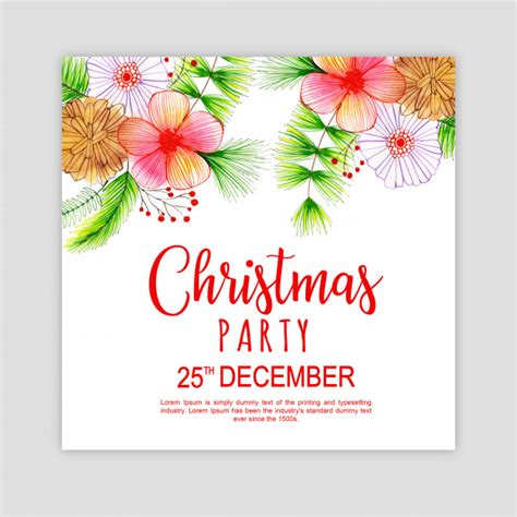 Watercolor merry christmas party invitation card Vector