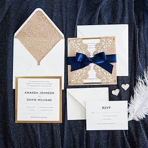 elegant rose gold and navy blue glitter wedding With rose gold wedding invitations kits